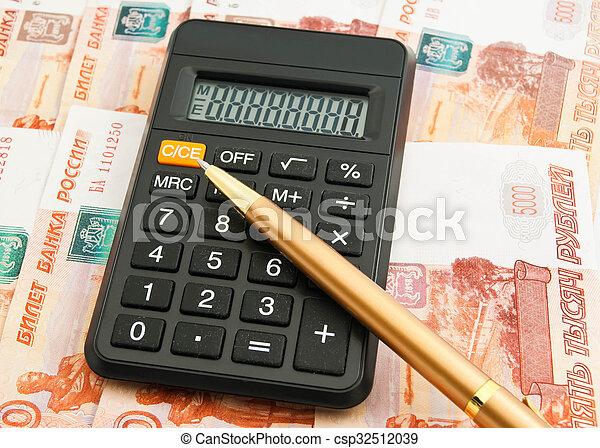 calculator, pen and Russian banknotes - csp32512039