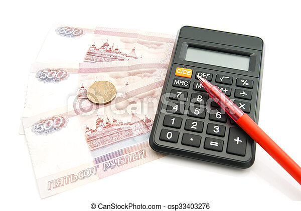 calculator, pen, banknotes and coins on white - csp33403276