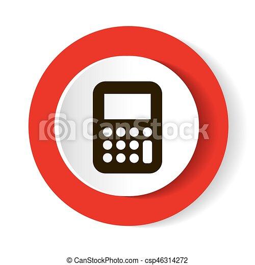 Calculator red web icon. - csp46314272