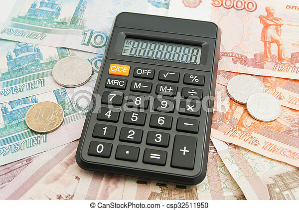 calculator, Russian banknotes and coins - csp32511950