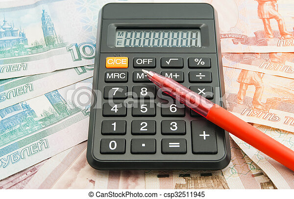 calculator, Russian banknotes and red pen - csp32511945