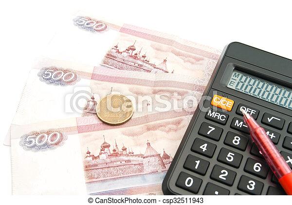 calculator, Russian banknotes, coin and pen - csp32511943