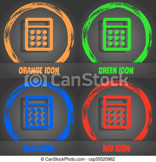 Calculator sign icon. Bookkeeping symbol. Fashionable modern style. In the orange, green, blue, red design. Vector - csp30520962