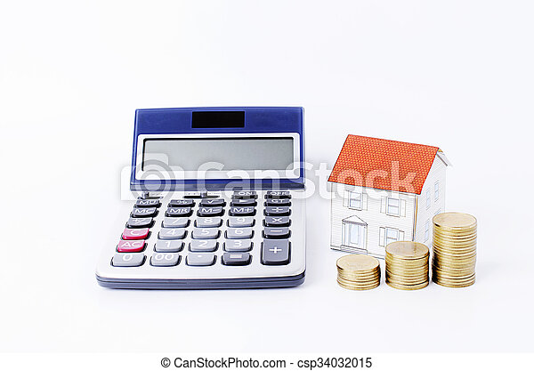 Calculator with paper house and coins stack on white backgrounds - csp34032015
