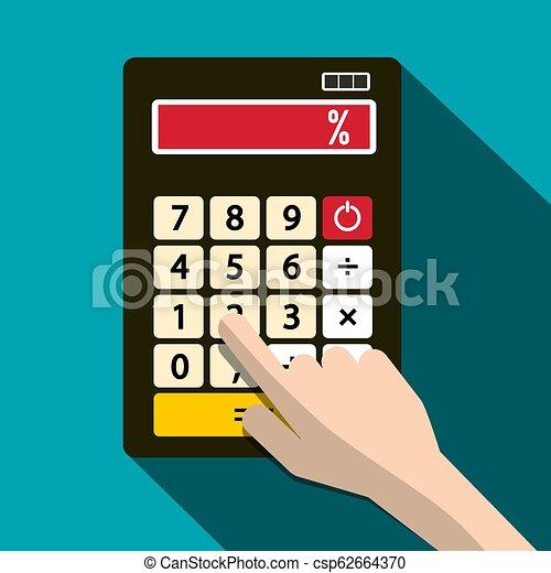 Calculator with Percent % Symbol and Human Hand. Vector Flat Design Illustration. - csp62664370