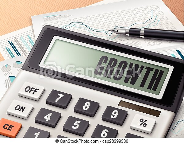 calculator with the word growth  - csp28399330