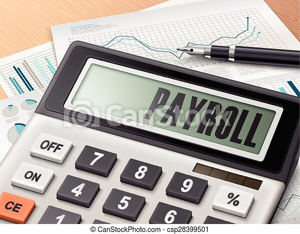 calculator with the word payroll on the display
