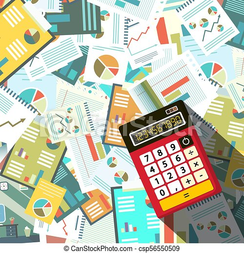 Calculator woth Paperwork Background. Vector. - csp56550509