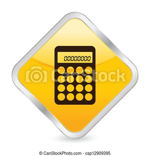 calculator yellow square icon - csp12909395