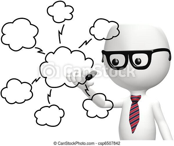 calculer, il, intelligent, programmeur, dessin, nuage, plan - csp6507842