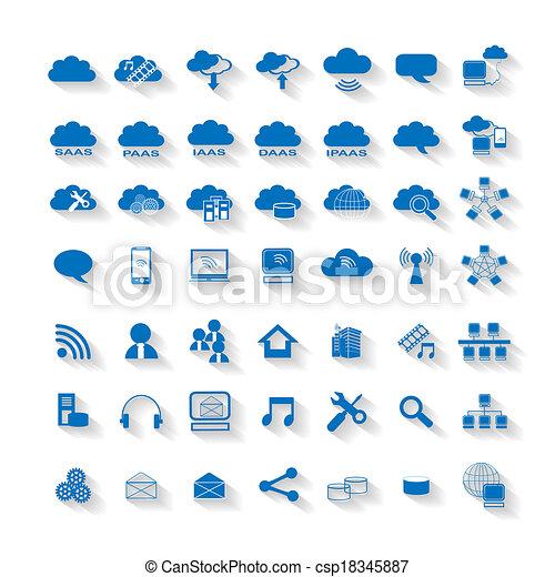 calculer, nuage, toile, réseau, icône - csp18345887