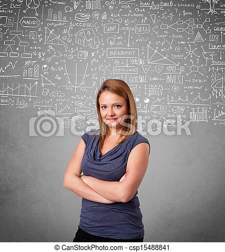 calculs, icônes, jeune, main, joli, dessiné, dame - csp15488841