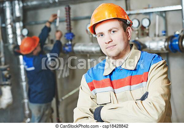 caldaia, ingegnere, riparatore, stanza, riscaldamento - csp18428842