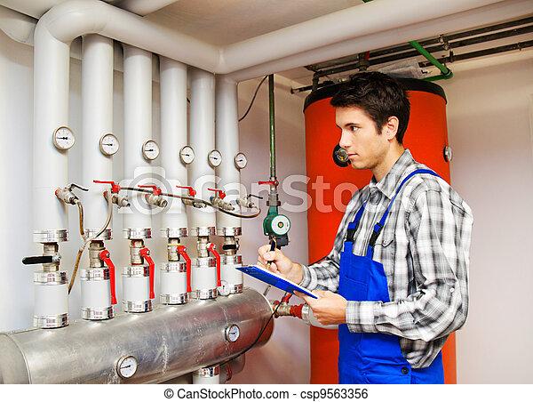 caldaia, ingegnere, stanza, riscaldamento - csp9563356