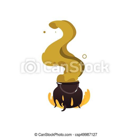 caldron, dia das bruxas, fogo, cauldron, verde, vapor - csp49987127