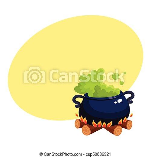 caldron, fogo, dia das bruxas, cauldron, ferver, madeira, verde, poção - csp50836321