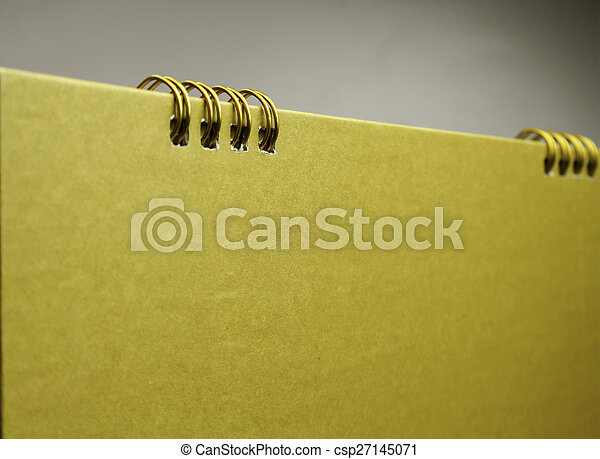 calendário, em branco, cópia, ouro, espaço - csp27145071