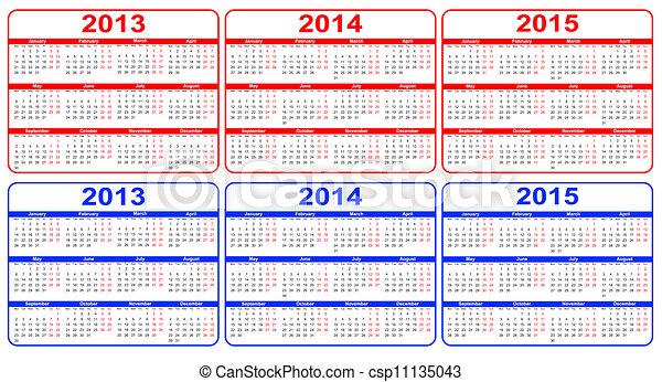 calendário, vetorial, 2013-2015 - csp11135043