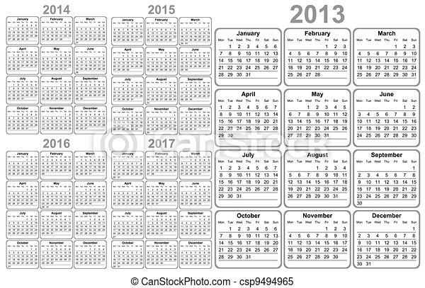 Calendar 2012, 2013, 2014, 2015, 20 - csp9494965