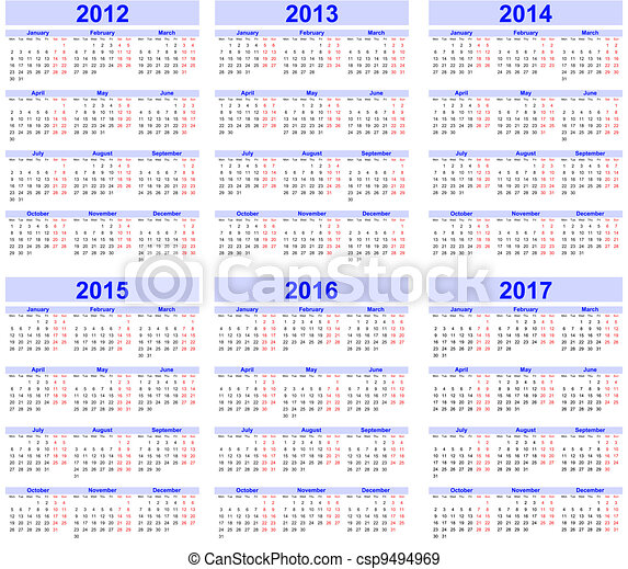 Calendar 2012, 2013, 2014, 2015, 20 - csp9494969