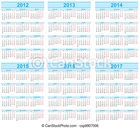 Calendar 2012, 2013, 2014, 2015, 2016, 2017 - csp9907006