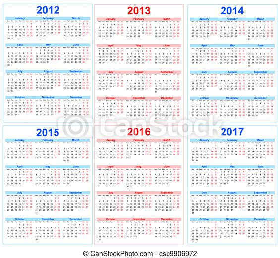 Calendar 2012, 2013, 2014, 2015, 2016, 2017 - csp9906972