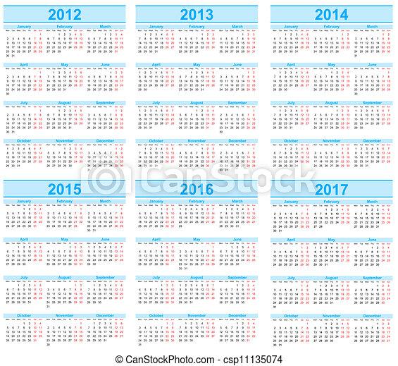 Calendar 2012, 2013, 2014, 2015, 2016, 2017 - csp11135074