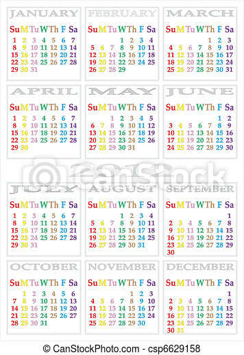 CALENDAR 2012 - specific color for each day of the week - csp6629158