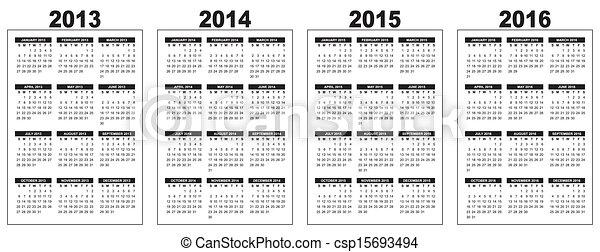 illustration of a basic overview calendar 2013 2014 2015 2016