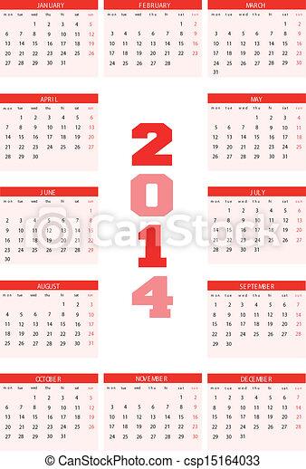 Calendar 2014 - csp15164033