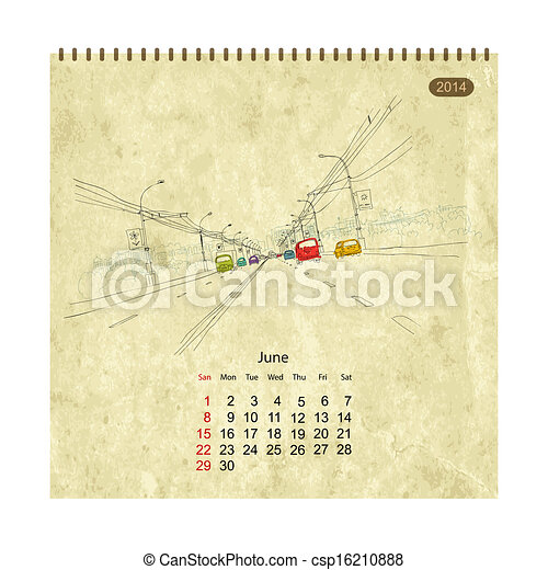 Calendar 2014, june. Streets of the city, sketch for your design - csp16210888