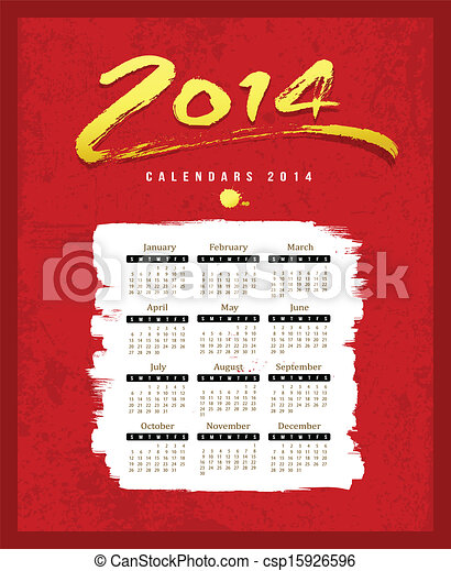 Calendar 2014 text paint brush - csp15926596