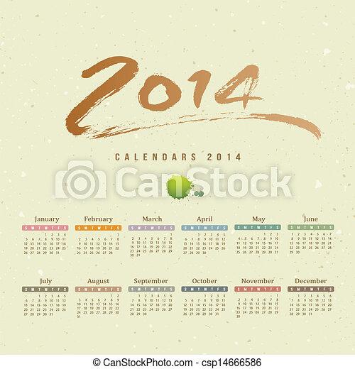 Calendar 2014 text paint brush - csp14666586