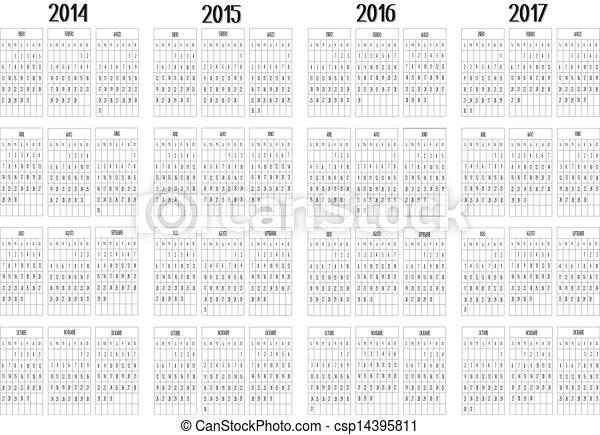 Calendar 2014 to 2017 - csp14395811