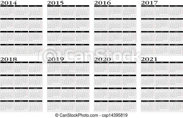 Calendar 2014 to 2021 - csp14395819