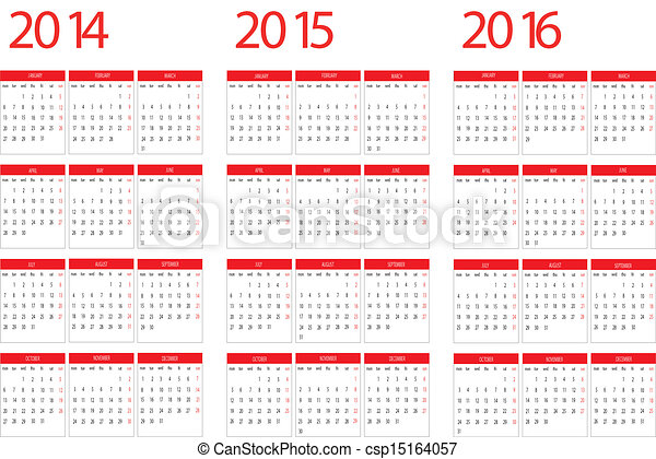 Calendar 2014,2015,2016 - csp15164057