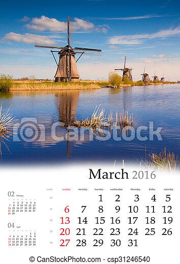 Calendar 2016. March. - csp31246540