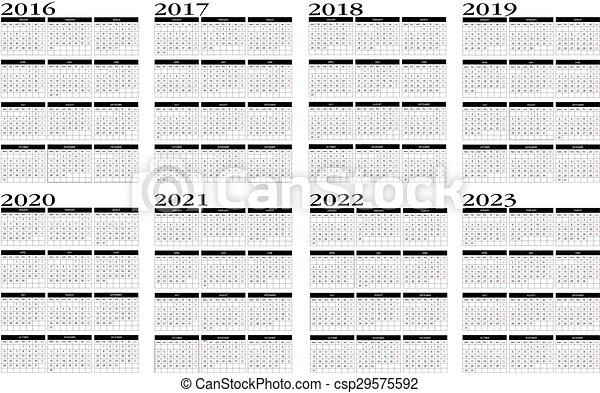 2016 2022 2023 Calendar.Calendar 2016 To 2023 New Calendar In English 2016 To 2023 Canstock