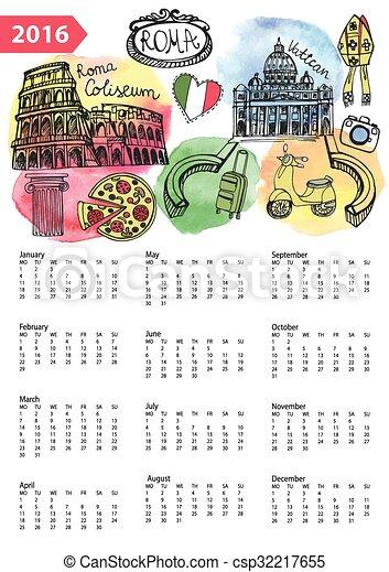 Calendar 2016.Italy,Roma Landmarks,symbols,watercolor - csp32217655