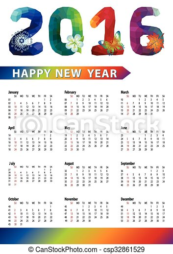 calendar 2016 polygon numbers rainbow colors vertical calendar 2016