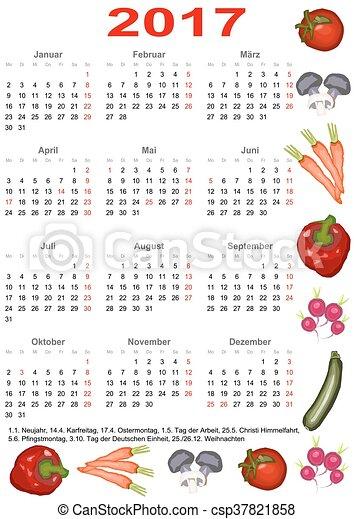calendar 2017 ger with vegetables calendar 2017 with clipart vector search illustration. Black Bedroom Furniture Sets. Home Design Ideas