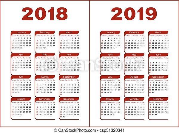 Calendario 2018 2019.Calendar 2018 2019