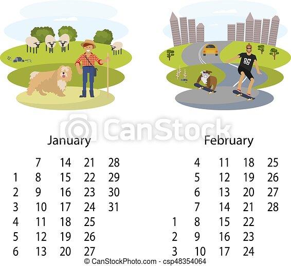 Calendar 2018 january february. Calendar 2018 for january... clip ...