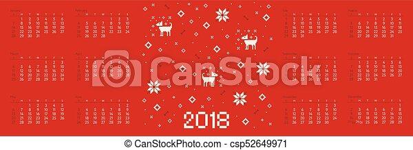 Calendar 2018 with cross stitch dog pixel art - csp52649971