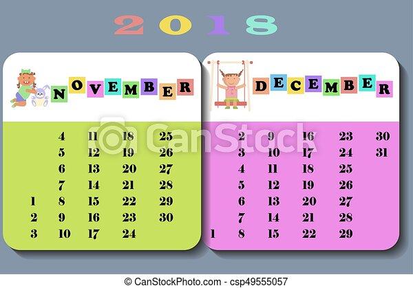 Calendar 2018 With Cute Children Calendar November And December