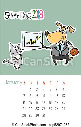 Calendar 2018 With Cute Funny Dog And Sad Cat January Month Hand