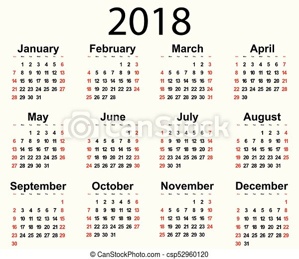 Calendar 2018 year background, new year illustration. | CanStock