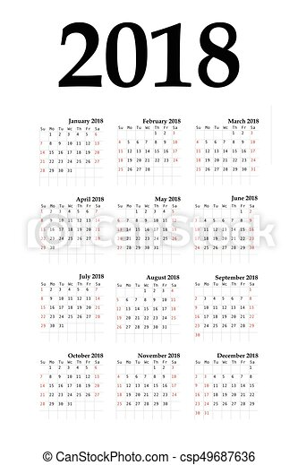 Calendar 2018 year simple style. - csp49687636