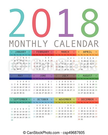Calendar 2018 year simple style. - csp49687605