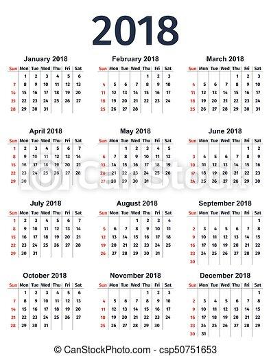 calendar 2018 year vector template planner calendar 2018 year